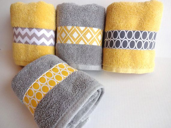 Set of 4 Yellow and Grey Bath Towels yellow and grey by AugustAve, $72.00