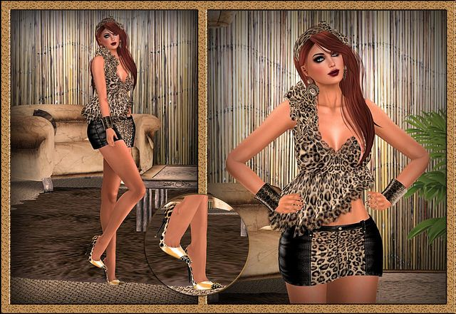 Another day, another style and today in animal print and flying, wavy and flexi part outfit from Morea Style. New release Kayla from Morea is a mini skirt and blouse. Skirt comes as black denim/a...