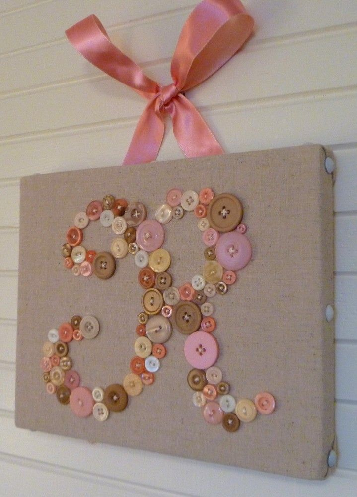 "Your Baby's Monogram in Buttons on 8""x10"" Canvas -- Unique Personalized Nursery Art -- by Letter Perfect Designs. $55.00, via Etsy."