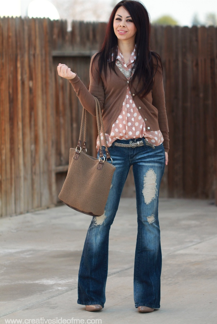 Love the pink polkadots with the cardigan