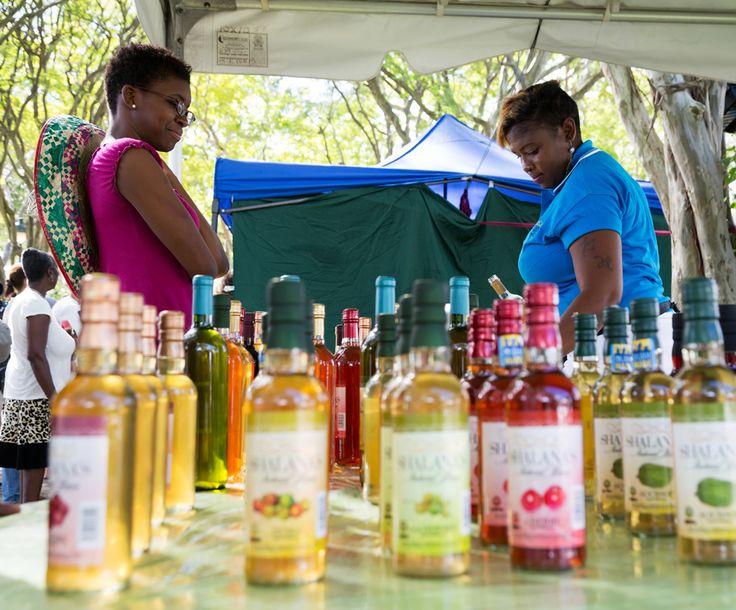 Barbados: Locale likeurtjes proeven in Queen's Park op Barbados.