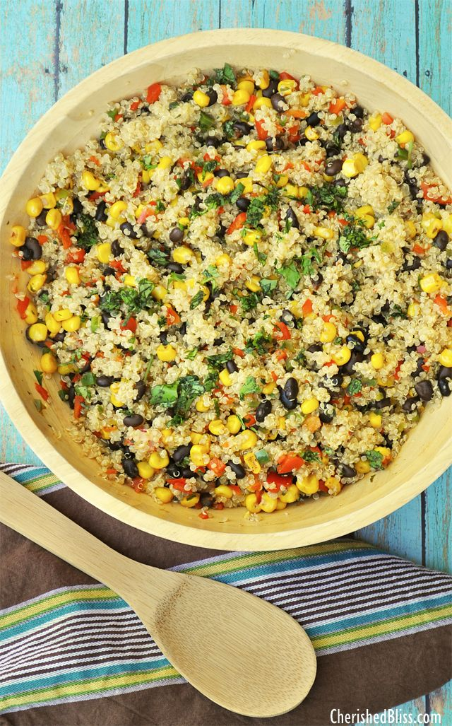 Black Bean, Corn & Quinoa Salad 1.5 c quinoa cooked in 3 c broth Saute 1 red bell pepper, 1 jalapeno, 1 shallot, and 2 garlic cloves (all chopped) in 3 T oil; add 12 oz roasted corn, 15 oz cooked beans, salt, pepper, 1 t chili powder, 1/2 t cumin, 3 T cilantro leaves, & w T fresh lime juice.