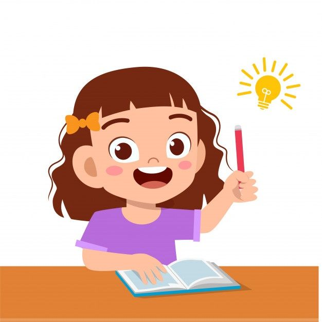 Happy Cute Kid Girl Study Hard Think Premium Vector Freepik Vector School Books Children Education Kids App Design Kids Study Cute Kids