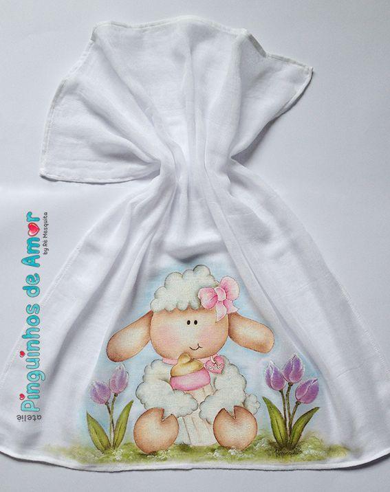 Fralda - Pintura de Ovelha com Mamadeira