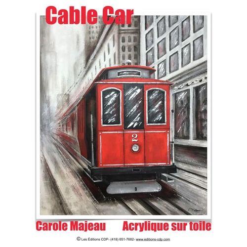Création de Carole Majeau - Patron de projet à peindre à l'acrylique et au mortier, peinture de cable car, tramway, vitesse, moderne, contemporain