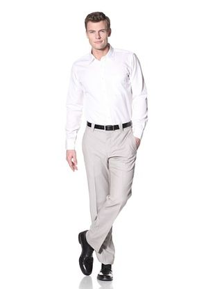 Incotex Ivory Men's Wool Flat Front Trouser