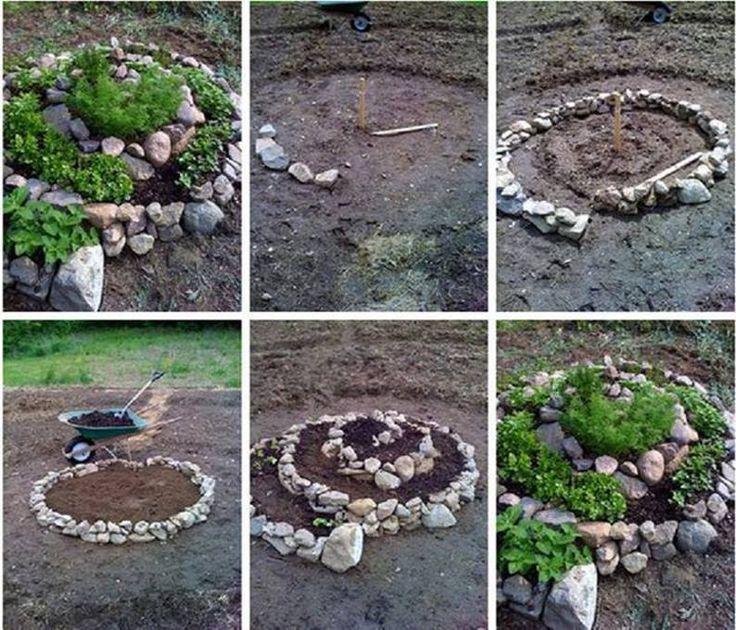 Jardinera con piedras de r o casas de campo terrazas y for Ideas de jardines con piedras