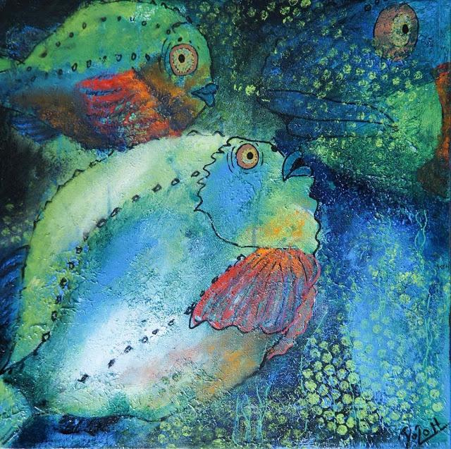 Doo it - just doo it: Humor og leg i maleriet (Lumpfisk II, 40 x 40 cm, acrylics and ink)