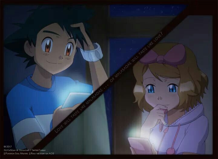 Ash and Serena are texting, so cute!