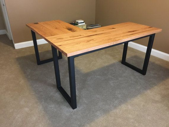 wood and steel l shaped desk by chuckcustomcreations on etsy indoor pinterest industrial. Black Bedroom Furniture Sets. Home Design Ideas