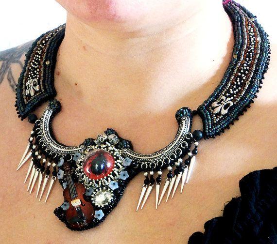 Collier collane Gothic Goth ricamo di perline