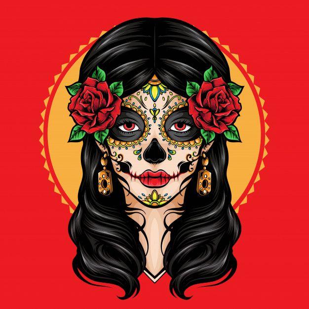 La Catrina Dia de Muertos Frauen Premium T-Shirt