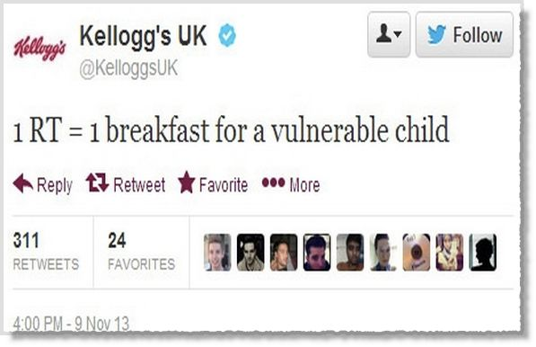 To someone who knew the charitable work of Kellogg's, this tweet may have been fine. To most, the message stank of an attempt at a viral campaign that held the hunger of children hostage.
