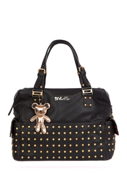 WHY WE LOVE THIS IL TUTTO PATENT CHANGING BAG FRANKIE-BLACK WITH STUDS; The perfect leather look changing bag wrapped with studs with Il Tutto's signature giant teddy along for the ride. Frankie is 100% baby bag temptation for style savvy mums this season. #wonderfulchristmas
