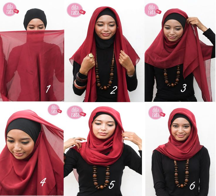 SIDE PIN Style  1. Prepare a rectangular hijab, hijab inner D & Z and 2 pin. Fold the scarf into a triangle.  2. Inner wear hijab D & Z then forwarded to wear hijab triangle.  3. Take one end of the scarf and pull it toward the opposite side.  4. Then associate with pin  5. Take the other end of the scarf and draped shoulders and tie with a pin.  6. You are ready to style