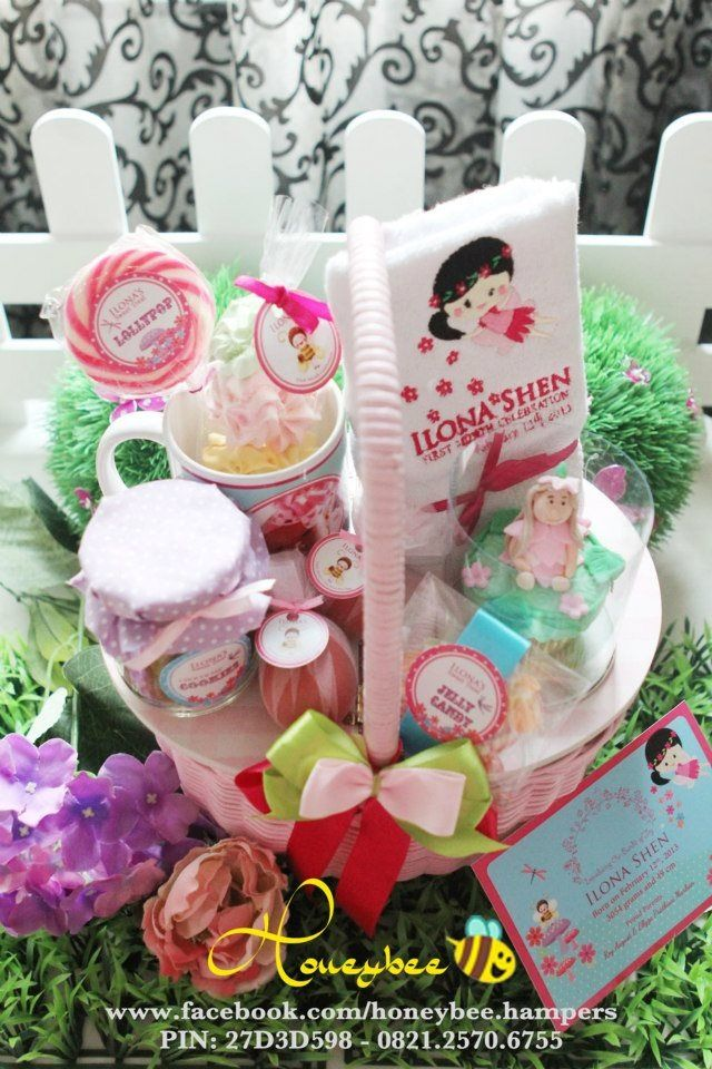 Fairy theme. For baby announcing hamper.