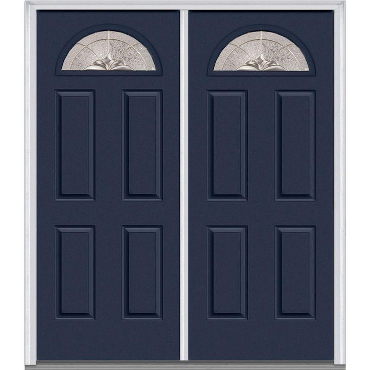 Milliken Millwork 74 in. x 81.75 in. Heirloom Master Decorative Glass 1/4 Lite Painted Fiberglass Smooth Exterior Double Door, Naval