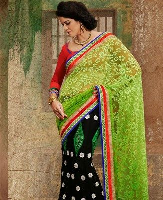 Buy Gorgeous Green And Black Lengha Saree online at $84.13 [APRC77012]