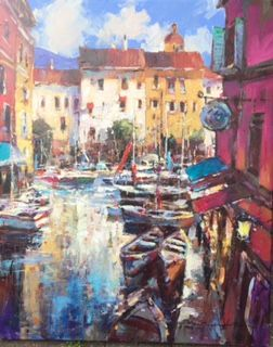"'Cote D'Azur' Brent Heighton Original Acrylic on Prepared Panel 30""x24"" www.brentheighton.com www.wlag.net"