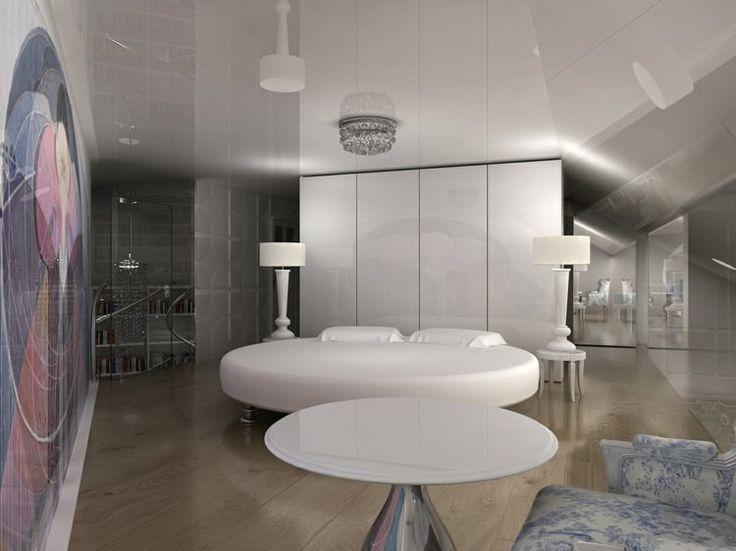 lit rond de design minimaliste en blanc dans la chambre ultra moderne