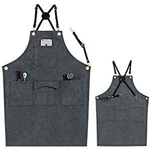 Schürze strapazierfähig Arbeitsschürze aus Baumwolle mit verstellbaren Lederr...