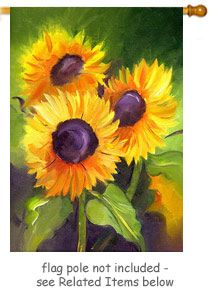 Three Sunflowers Garden Flag From Just For Fun Flags. Bright, Bold  Sunflowers For Spring, Summer And Right Into Fall. The Design Is By Artist  Amy Hautman ...