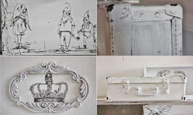 valise vintage repeinte en blanc neige et déco murale personnalisée