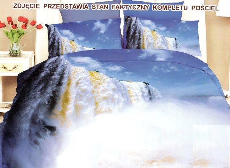 Wielki wodospad pościel z mikrowłókna w kolorze niebieskim