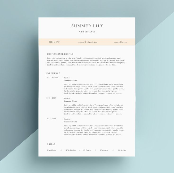 Simple Resume Template Cover Letter CV Template