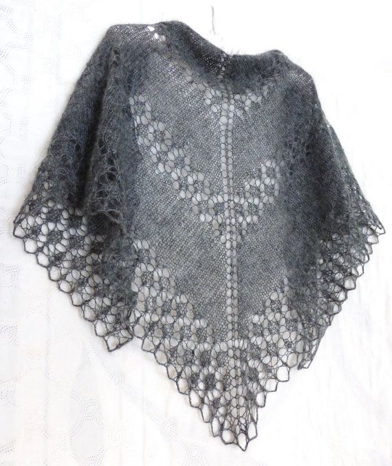 Graphite gray Mohair Shawl. Hand Knit Lace Shawl. Knit