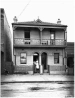 Nurse and mother with baby outside -The Alexandria Baby Health Clinic at 20-22 Henderson Road, Alexandria was established on 24 August 1914 when the Alice Rawson Schools for Mothers were taken over by the government. The purpose of the clinic was to address the high infant mortality rate, to promote hygiene and to advance women's' health.The Alexandria Baby Health Centre, which was opened by the Baby Clinics Board, was the first baby health centre to be established in New South Wales.
