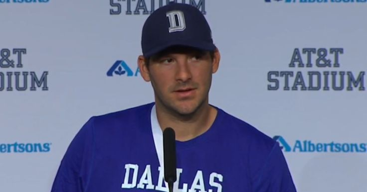 Video: Tony Romo holds a press conference after injuring his left shoulder against the Carolina Panthers.