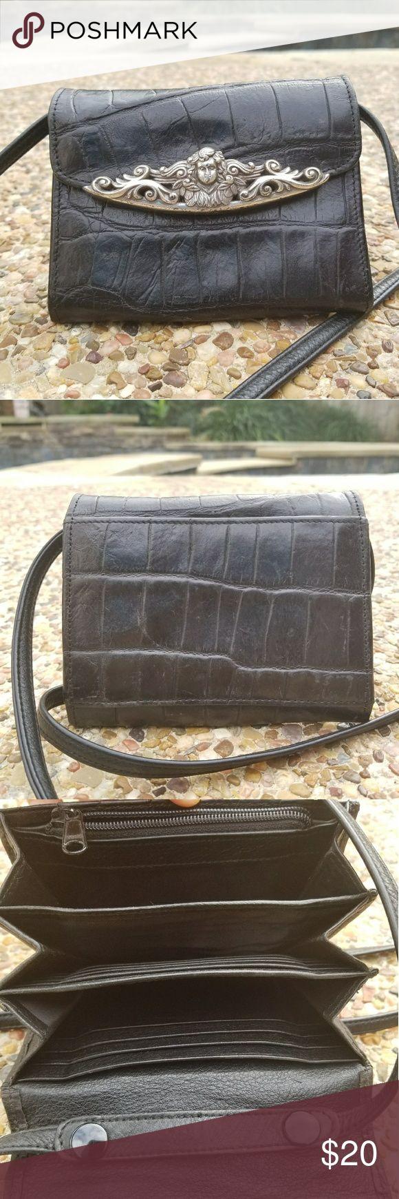 Vintage Brighton Wallet Crossbody Cute vintage Brighton wallet crossbody with whimsical silver hardware. It good condition with clean exterior and interior. Brighton Bags Wallets