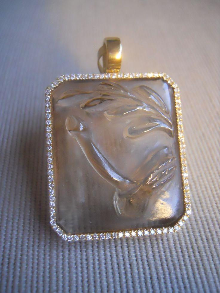 """""""Hic habitat felicitas"""" phallic amulet. Carved topaz, diamonds, 18k yellow gold pendant. Unique."""