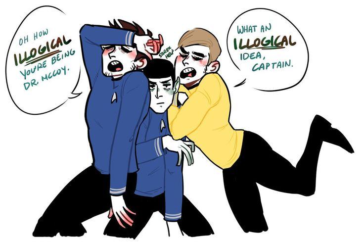 McCoy, Spock, Jim<-I feel like this has happened before