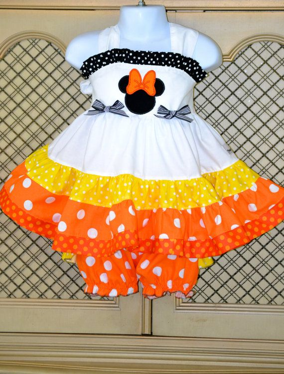 Halloween Kandy Korn Ruffle Bloomer set  SweetPeaBlossoms, $49.50