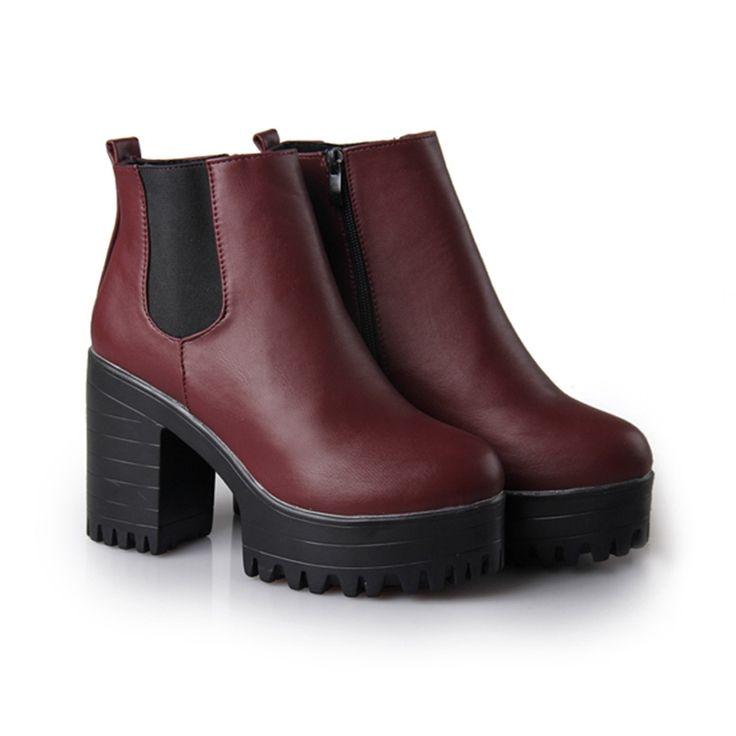 2015, женские сапоги для осени и зимы, на платформе, квадратный каблук, по щиколотку, окрашенная кожа, модные сапоги, для езды на мотоцикле, с металлом, женская обувь купить на AliExpress