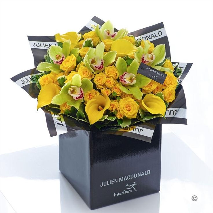 This resplendent hand-tied bouquet is a big impact gift that is sure to prompt a radiant smile of delight. We've selected these exquisite orchids with velvety green petals and hints of hot pink at the centre. Presented against a canopy of shimmering gold roses, the result is sensational.