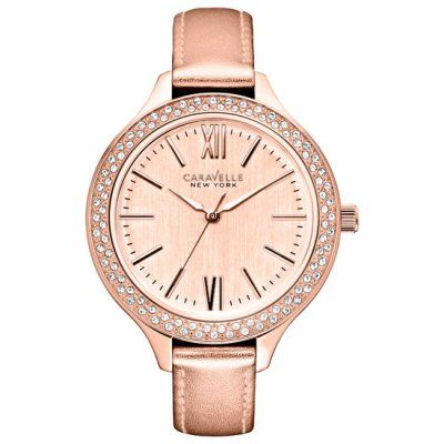 Caravelle New York - Ladies Rose Leather Strap Carla Watch - 44L132 - RRP: £75.00 - Online Price: £63.00