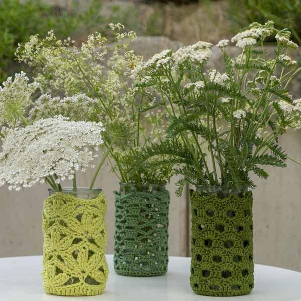 Häkeln: Senfgläser werden zu Vasen und Teelichtern