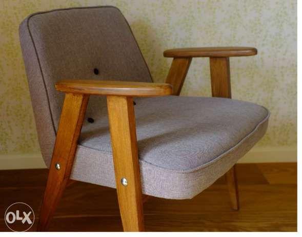 799 zł: Witam,  mam do sprzedania wspaniały, klasyczny, polski design z lat 60-tych - fotel 366 Chierowskiego. Przeszedł on całkowitą renowację. Założone zostały nowe pasy, gąbka tapicerska oraz nowe obszy...