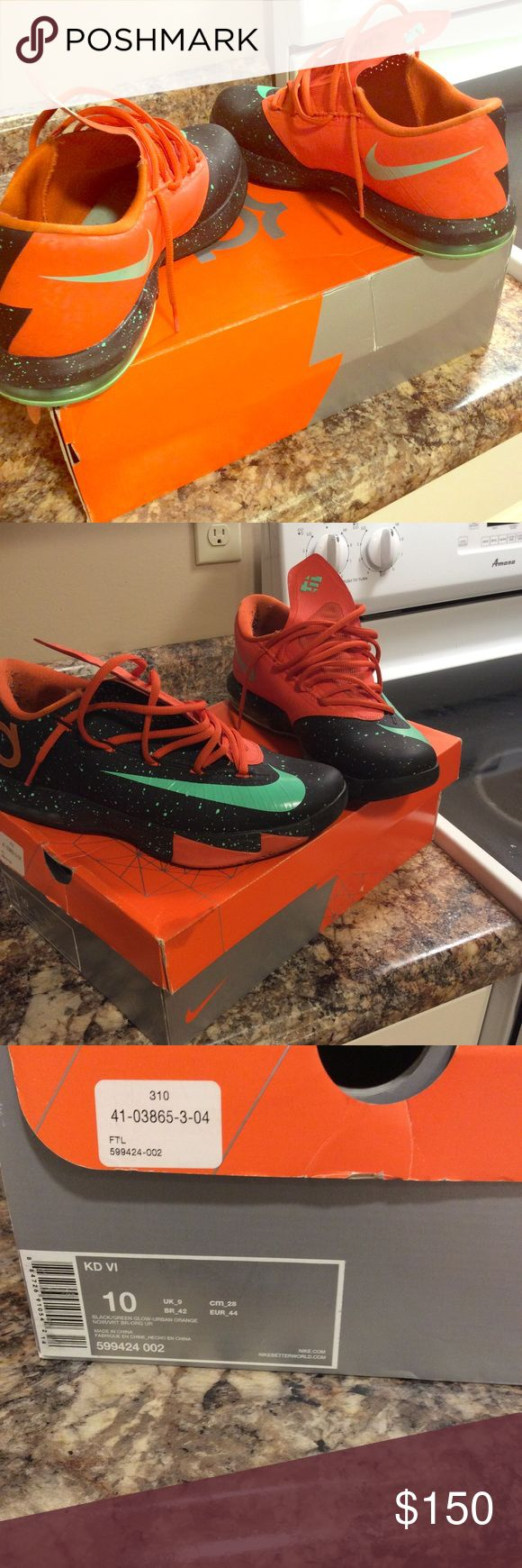 Nike KD Vi Texas black/green glow Here we have a pair of Men's Nike KD VI. These Sneakers are in mint condition. They were worn only two times. Feel free to ask for more pictures. Buy with confidence Nike Shoes Sneakers