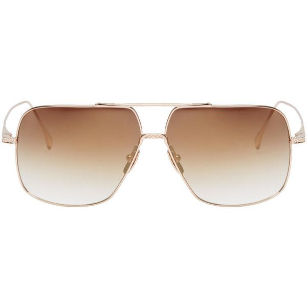 Dita Gold Flight.005 Sunglasses ($500) ❤ liked on Polyvore featuring men's fashion, men's accessories, men's eyewear, men's sunglasses, gold, men's mirrored sunglasses, mens gold aviator sunglasses, mens mirrored aviator sunglasses and mens brown sunglasses
