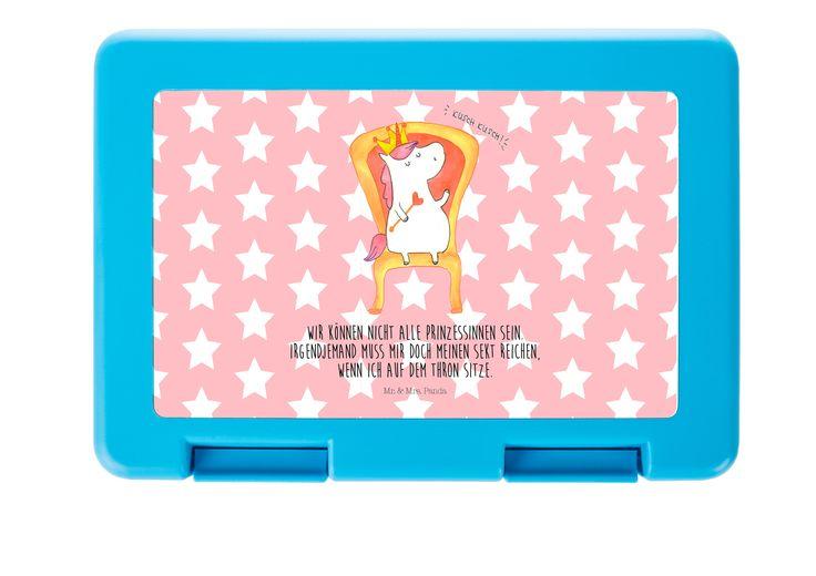 Brotdose Einhorn König aus Premium Kunststoff  schwarz - Das Original von Mr. & Mrs. Panda.  Diese wunderschöne Brotdose von Mr. & Mrs. Panda ist wirklich etwas ganz Besonderes - sie ist stabil, sehr hochwertig und mit einer exklusiven und schimmernden bedruckten Aluminiumplatte  ausgestattet.    Über unser Motiv Einhorn König  Das süße Einhorn auf dem Thron ist genau das richtige Geschenk für die beste Freundin. Denn manchmal würden wir doch alle gerne mit einer Krone auf einem Thron sitzen…