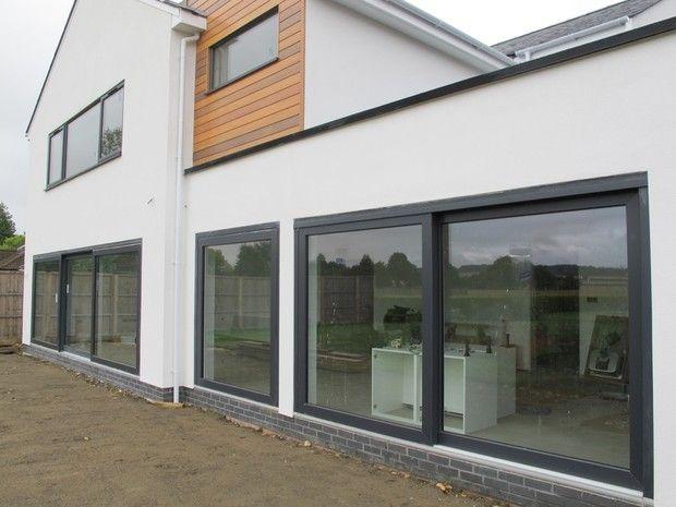 Anthracite grey upvc windows smooth finish google search for Black upvc patio doors