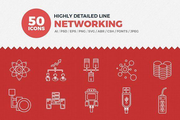 JI-Line Networking Icons Set by Jumbo Icons on @creativemarket