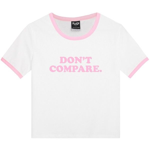 DONT COMPARE RINGER T-SHIRT ($17) ❤ liked on Polyvore featuring tops, t-shirts, shirts, gothic t shirts, baby doll tops, white tee, slogan t shirts and white babydoll top