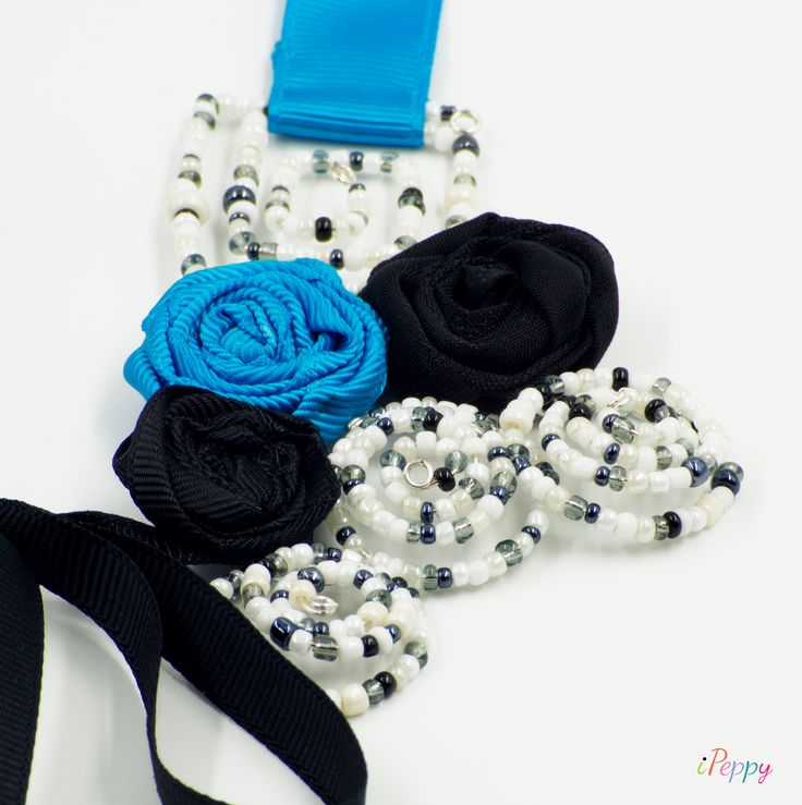 Salt and Pepper Spirals Collar- Necklace // Necklace For Women // Collar For Women // Statement Necklace // Handmade Necklace // Elegant Necklace #necklace #collar #artdeco #handmade #statement #flowers #beads #ipeppy #jewelry #blue #black #white #spiral