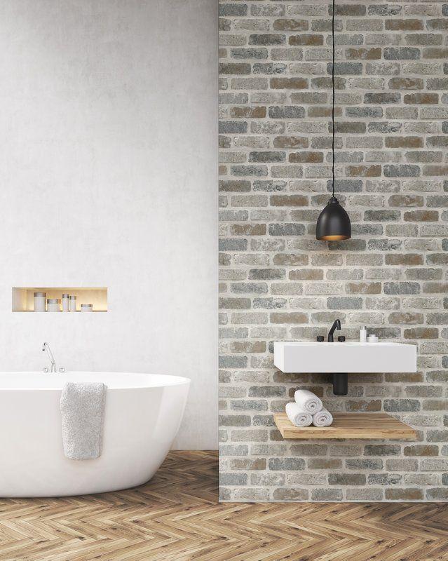 Perla Washed 18 L X 20 5 W Peel And Stick Wallpaper Roll Removable Brick Wallpaper Faux Brick Brick Wallpaper