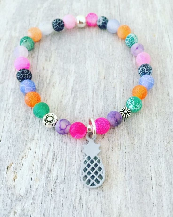 """Pineapple bracelet 6mm Frosted Dragon Veins Agate 6.75"""""""
